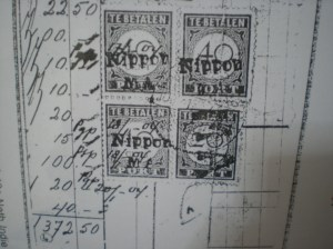 The photocopy of ex Dr Iwan S collection : Nippon MA overprin Jambi on Tax stamps used as regular stamps